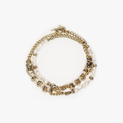 'DOUBLE LEOPARD CUB' NECKLACE - BLOND GOLD - FRESH WATER PEARLS
