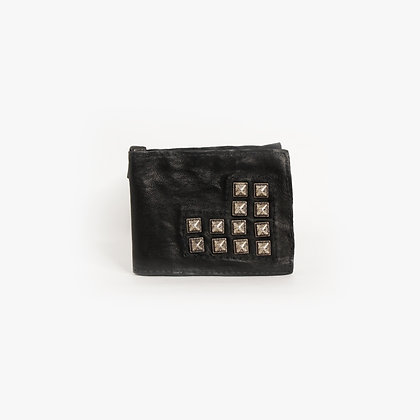 SUPER SLIM WALLET - ANTIQUE SILVER STUDS - BLACK