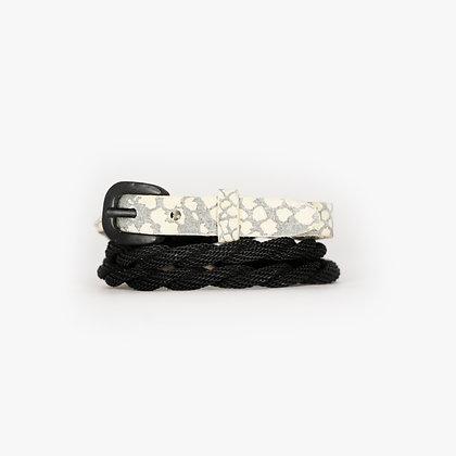 Manhattan Matte Black - Grey Bone Leather