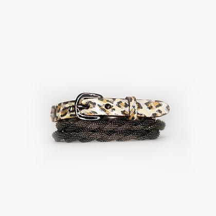 Gun Metal - Leopard Zebra Leather