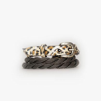 Antique Silver - Leopard Zebra Leather