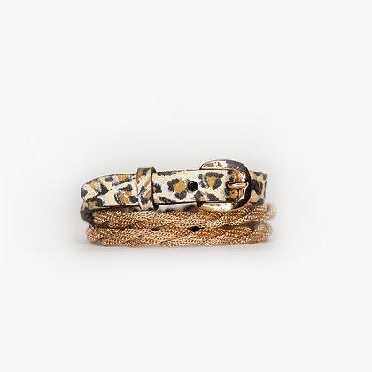 Pink Gold - Leopard Zebra Leather