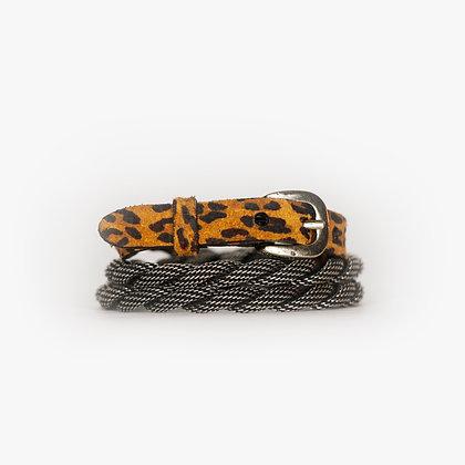 Antique Silver - Leopard Leather