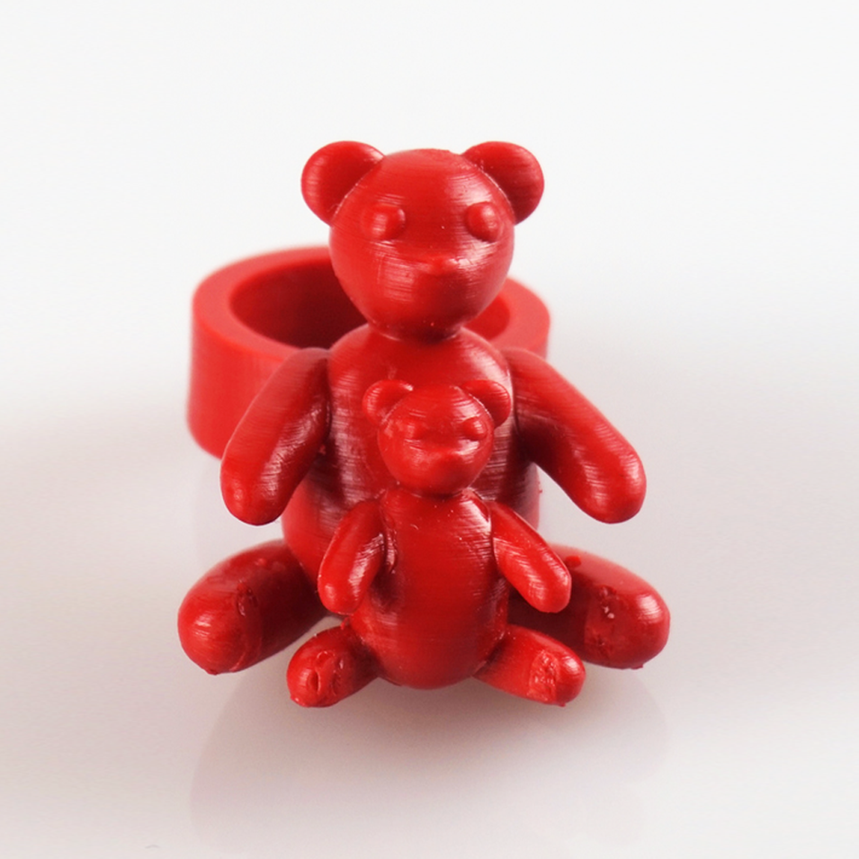 Two little bears ring front view