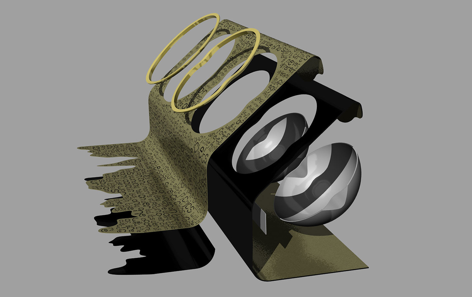 Exploded CAD model of components in design