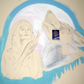 Mural first layer of paint applied