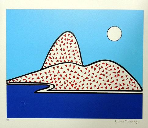 Pão de Açúcar Retrô triângulo vermelho fundo azul