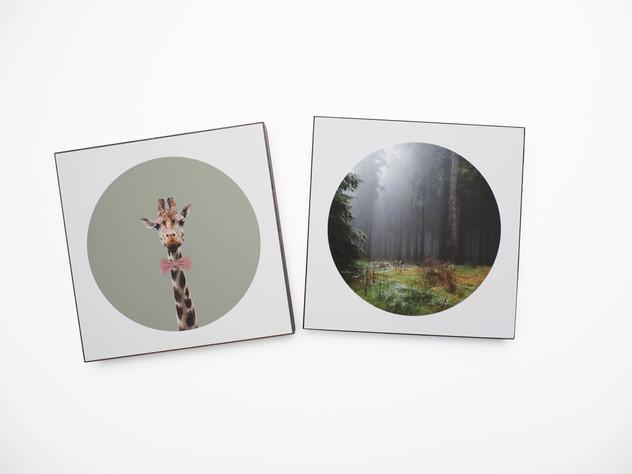 Holzbild 15x15cm  Kunstdruck auf schwarz durchfärbtem MDF. Zum hinhängen und hinstellen!  je 29€  Artikelnr: 2011 & 2017 Bestellung per Kontaktformular