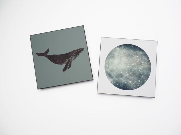 Holzbild 15x15cm  Kunstdruck auf schwarz durchfärbtem MDF. Zum hinhängen und hinstellen!  je 29€  Artikelnr: 2014 & 2020 Bestellung per Kontaktformular