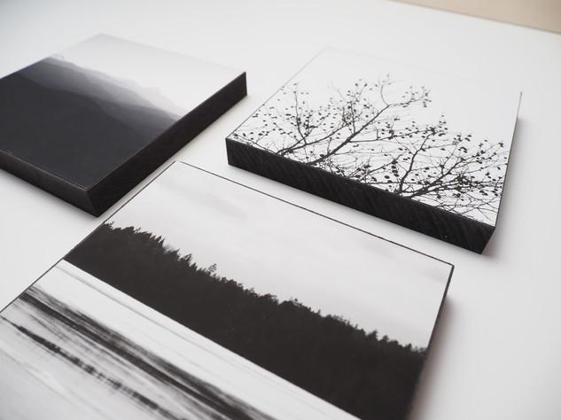 Holzbild 15x15cm  Kunstdruck auf schwarz durchfärbtem MDF. Zum hinhängen und hinstellen!  je 29€  Artikelnr: 2001,2002 & 2007 Bestellung per Kontaktformular