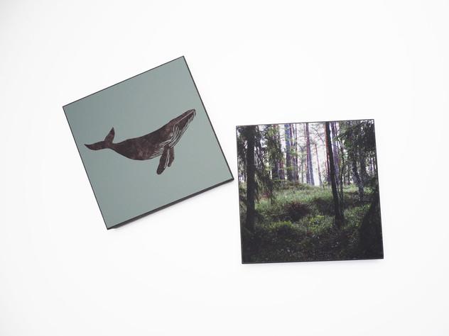 Holzbild 15x15cm  Kunstdruck auf schwarz durchfärbtem MDF. Zum hinhängen und hinstellen!  je 29€  Artikelnr: 2013 & 2014 Bestellung per Kontaktformular