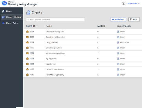 iManage Security Policy Manager Interface