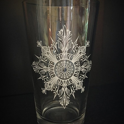 Snowflake Mandala Pint Glass