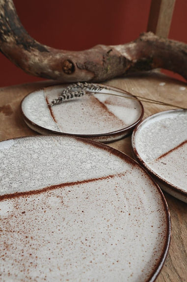 Hand crafted ceramic plates created in Edinburgh Ceramics Workshop