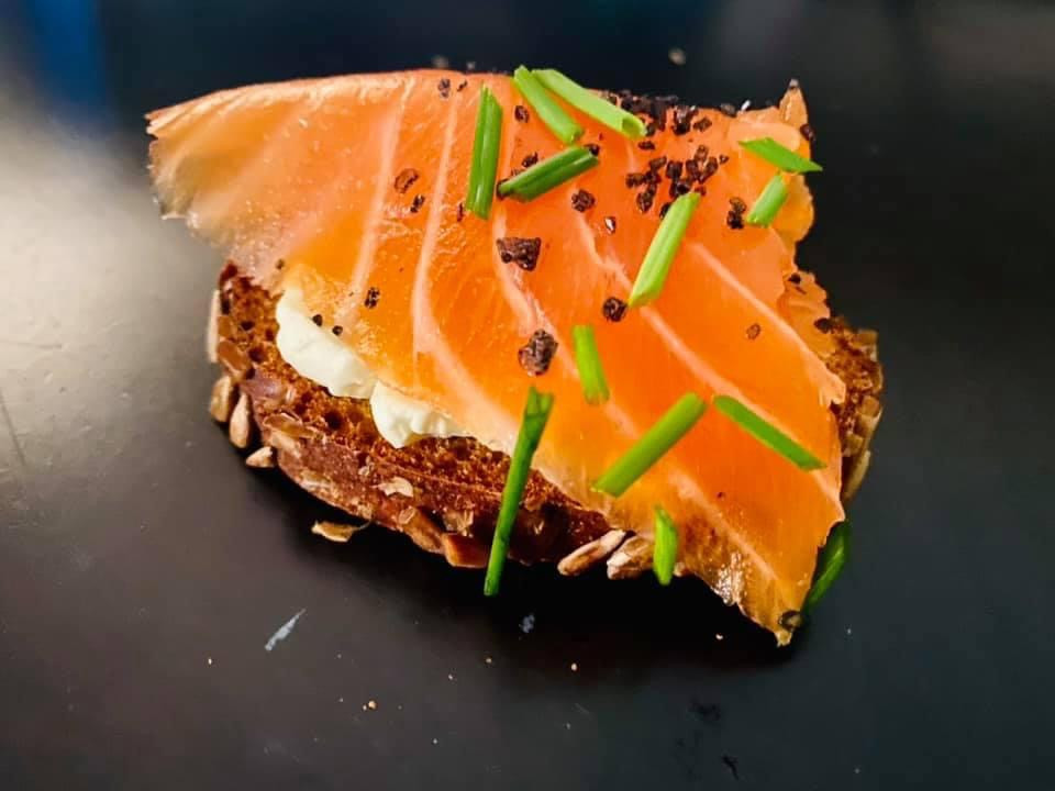 Rye bread + in-house cured salmon