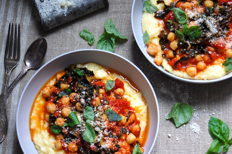 Chickpeas and Kale Braised with tomatoes and spices