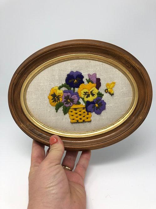 Vintage Crewel Flower Basket Art