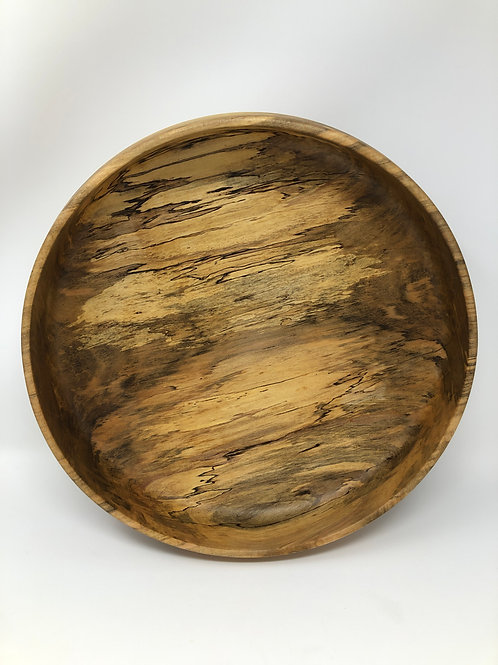 Hand spun spalted sycamore centerpiece bowl with blue epoxy bottom