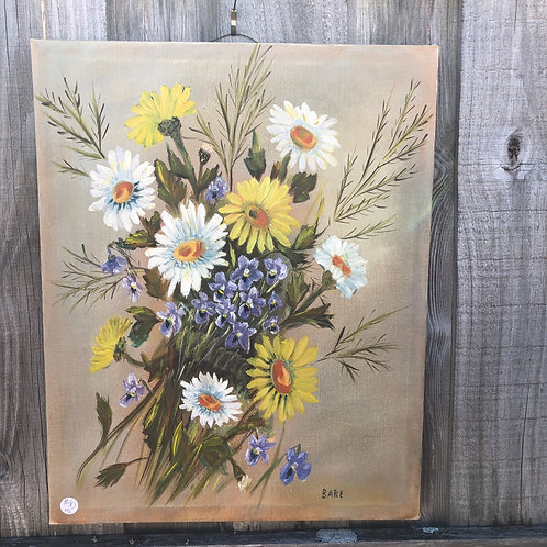 "Painting wildflowers yellow, white, purple w/ tan background, signed ""Babe"""