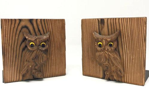 Vintage Otagiri Owl wood and metal bookends