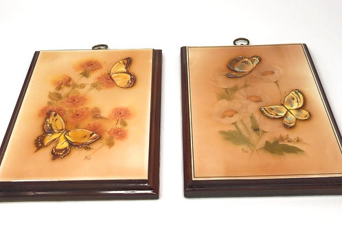 Set of 2 rare pressed butterfly on handpainted floral scene