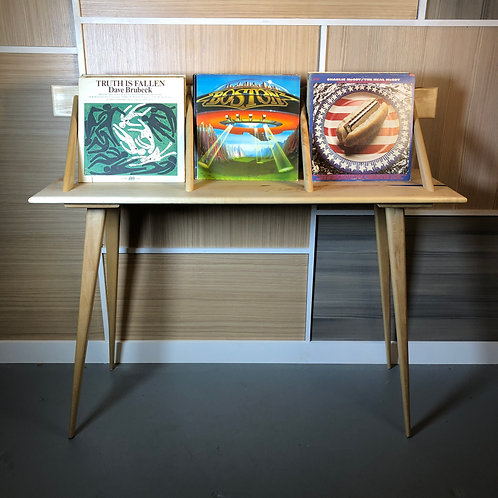 Mid Century Inspired Blonde Maple and Epoxy LP Holder/ Foyer Table with Floating