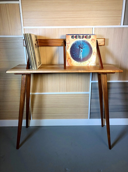 Mid Century Inspired African Mahogany LP Holder/ Foyer Table with Floating Back