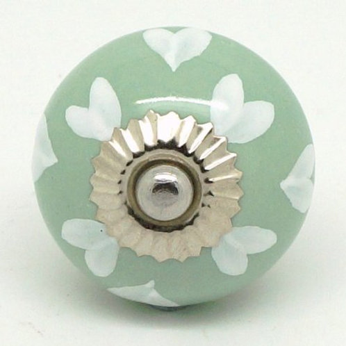 Sage Green White Hearts