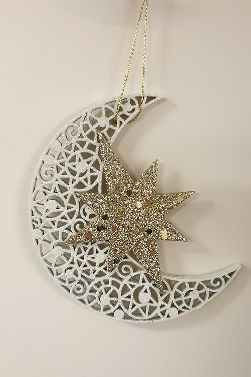 Glittery moon and Star - white