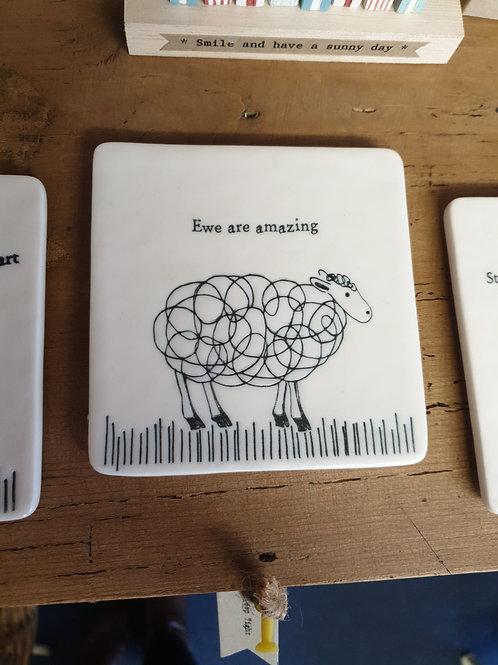 'Ewe are amazing' coaster