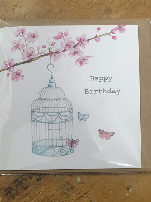 Bird cage birthday card