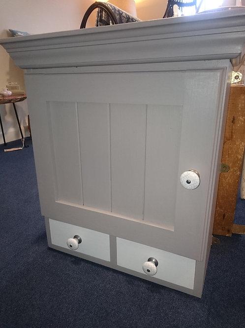 Grey painted Pine Wall cupboard