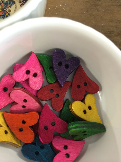 Wooden Heart buttons - mix of colours