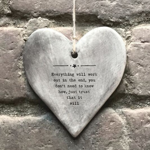 Everything will work out Grey hanger heart