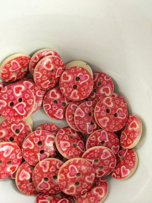 Pink Heart Circle buttons