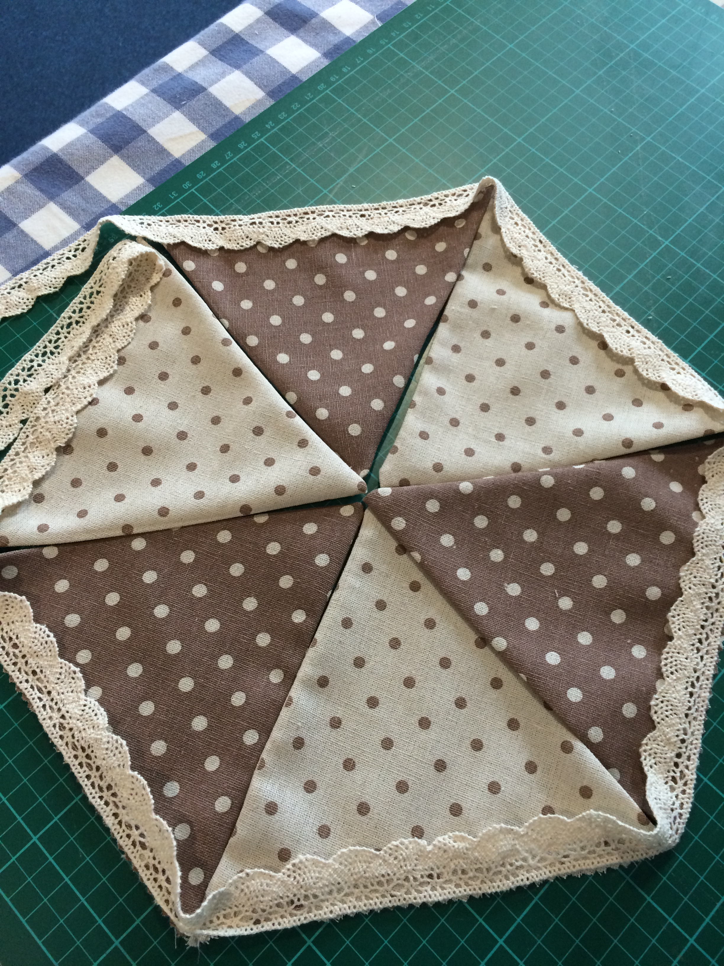 Polka bunting with Lace trim