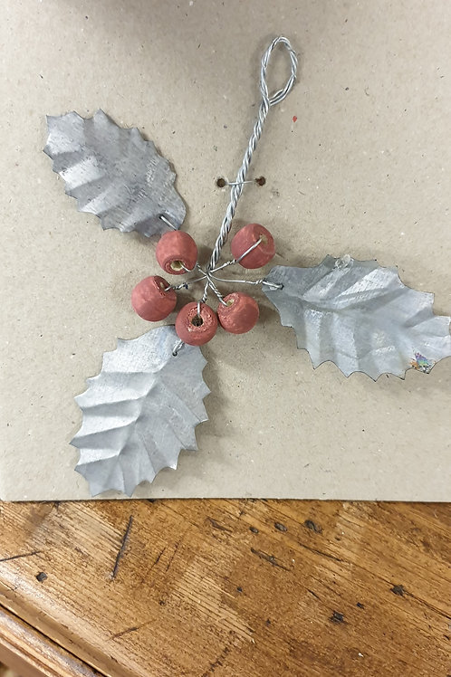 Metal Holly and Berries