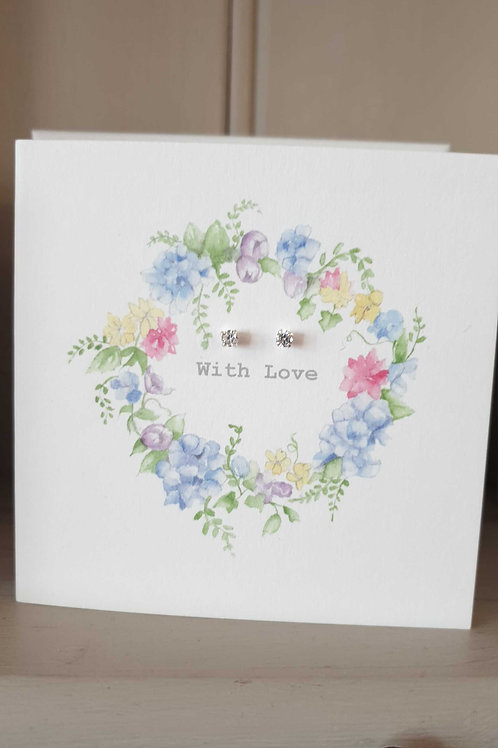 With Love- earrings on a card
