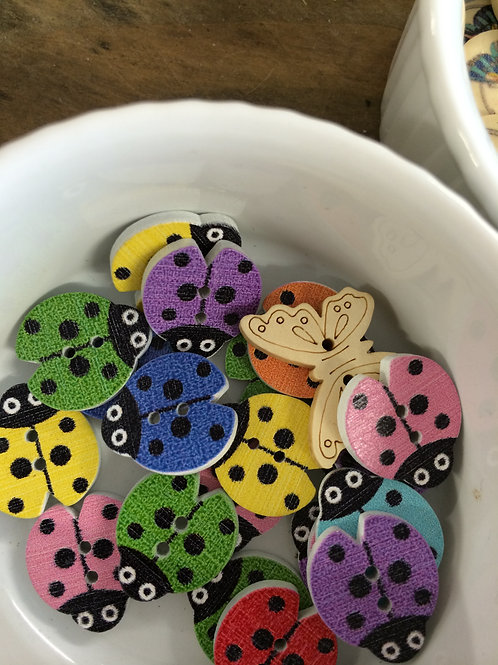 Multicoloured ladybug buttons