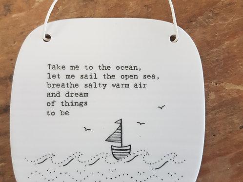 'Ocean' Square Porcelain sign