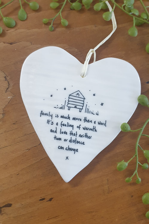 Family is more than a word - ceramic heart