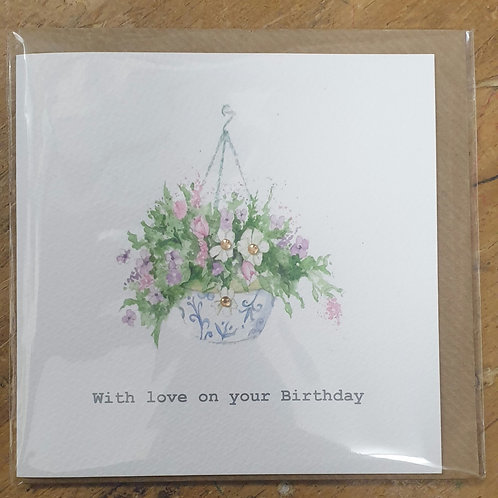 Hanging basket birthday card