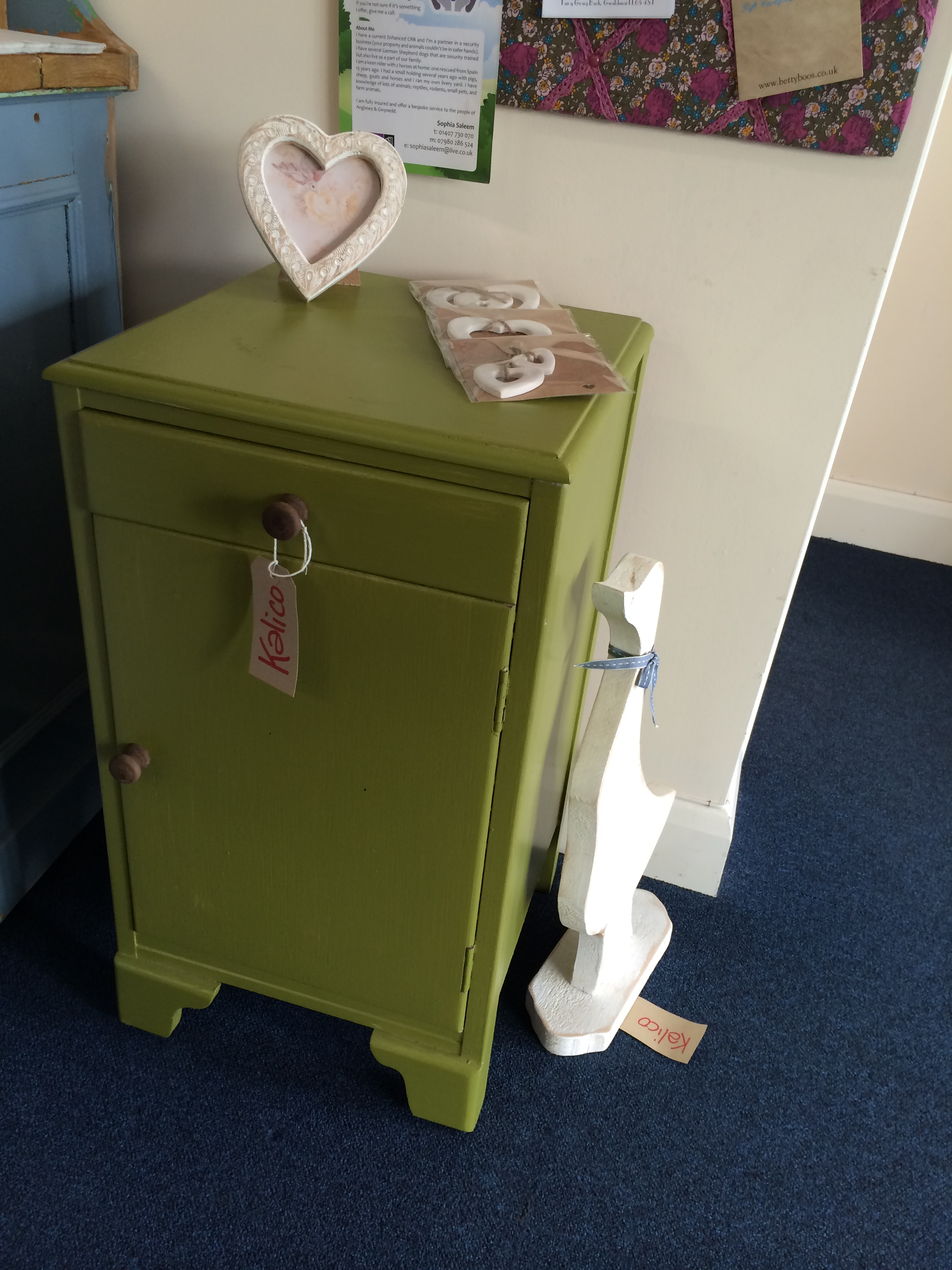 Olive Green bedside cupboard