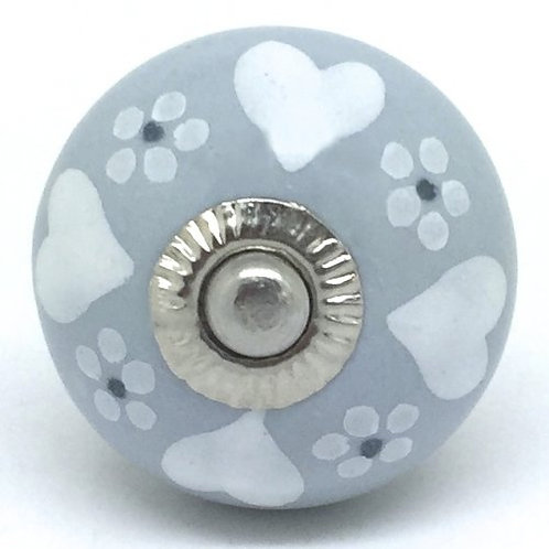 Posy Hearts Grey