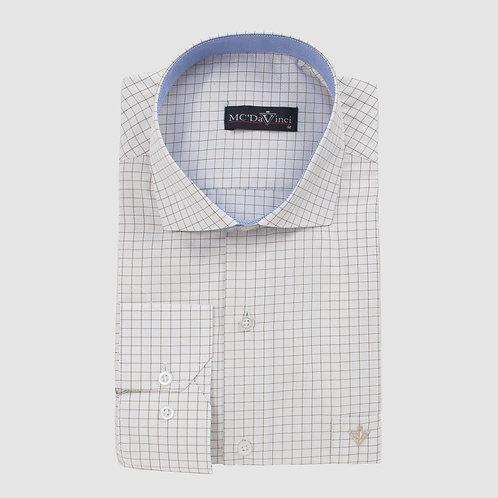 White-Brown Check Shirt