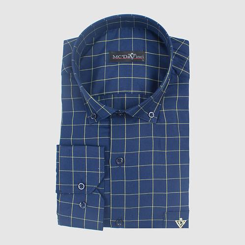 Navy-Blue Check Pattern Shirt