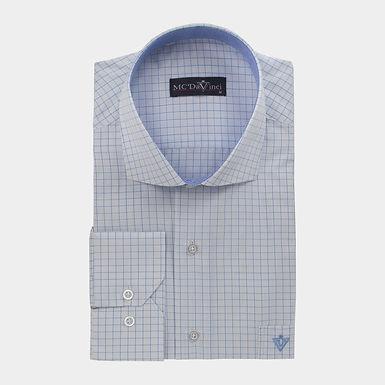 White-Blue Check Shirt