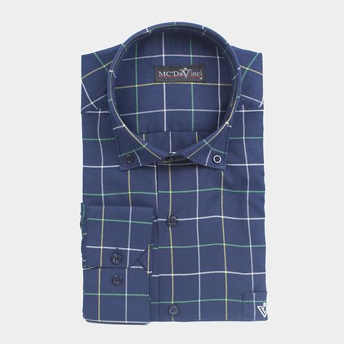 Navy-Blue Check Shirt