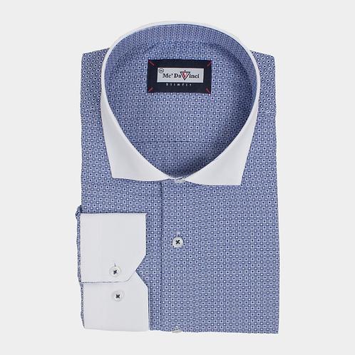 Navy-Blue Micro Print Shirt