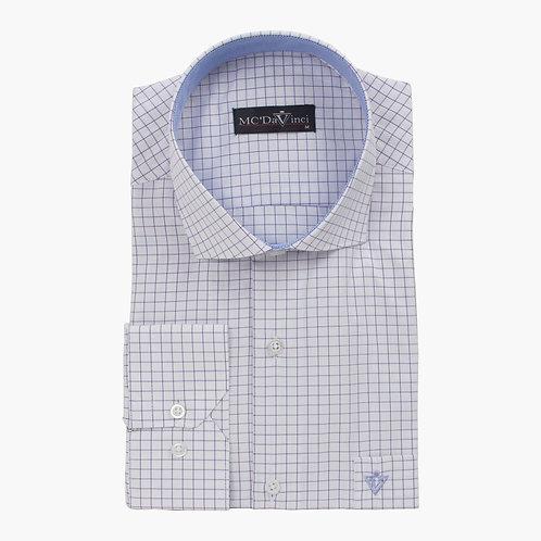 White-Purple Check Shirt